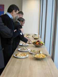 "British food! Whenever we visit companies or UK institutions, ""lunch"" is always something like this.  (This pic was taken when we visited FTSE, which has an index that reward/punish listed firms' environmental, ethical and social practices.)"