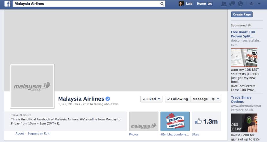 MH370, Facebook