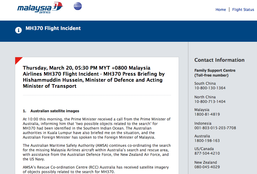 Malaysia Airline dark site update