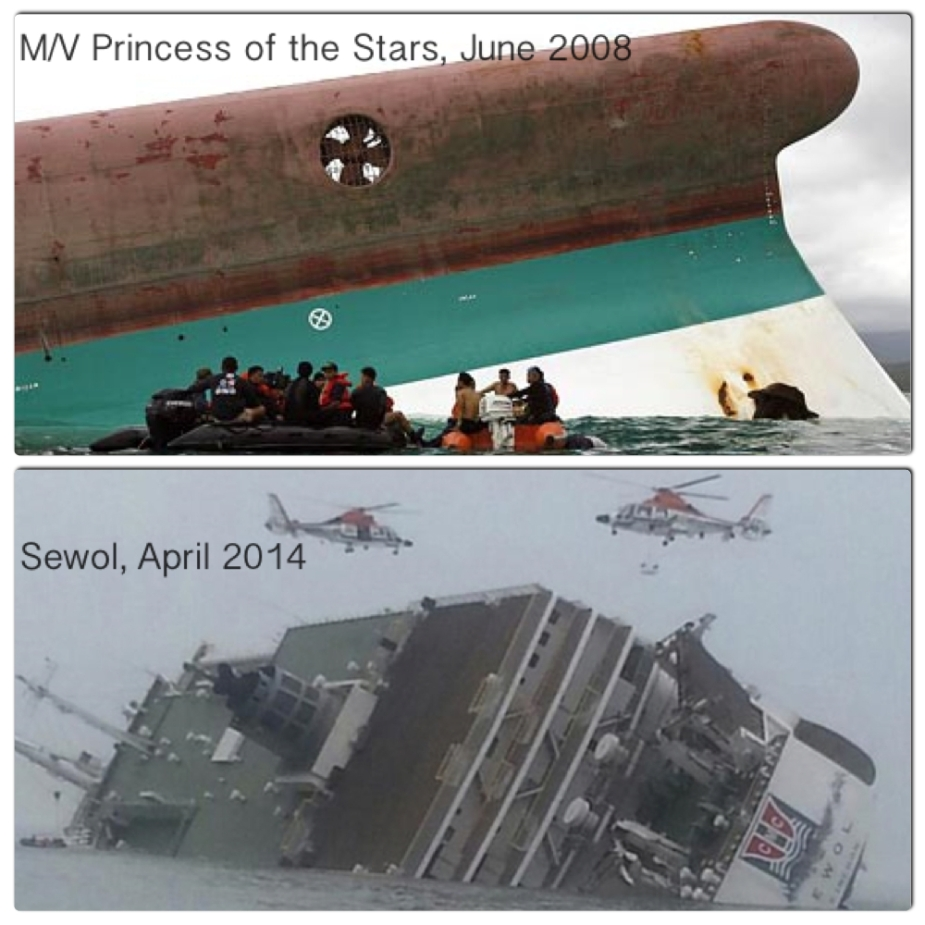 Two ferry accidents in Philippines and Korea